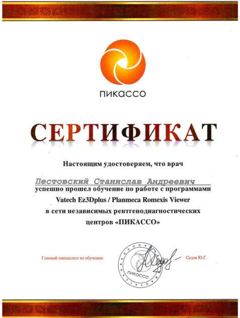 Сертификат стоматолога Пестовского - Обучение по работе с программами Vatech Ez3Dplus и Planmeca Romexis Viewer